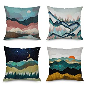 Heyhousenny Cartoon Landscape Mountains Decorative Watercolour Throw Pillow Covers Tree Bright Cushion Covers Square Outdoor Pillowcase for Sofa Set of 4 (Forest,Sun,Moon)