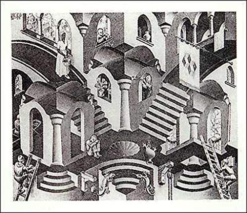 Pyramid America M.C. Escher Concave and Convex Stairs Optical Illusion Drawing Poster 25.5x21.5 inch