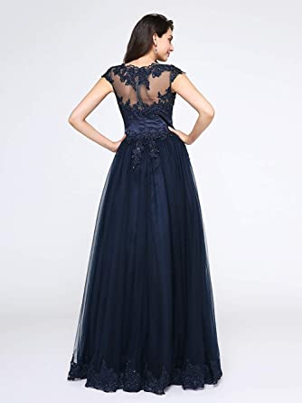 cf4a8e23073 TS Women s A-Line V Neck Floor Length Tulle Beaded Lace Lace Bodice Formal  Evening Dress with Appliques at Amazon Women s Clothing store