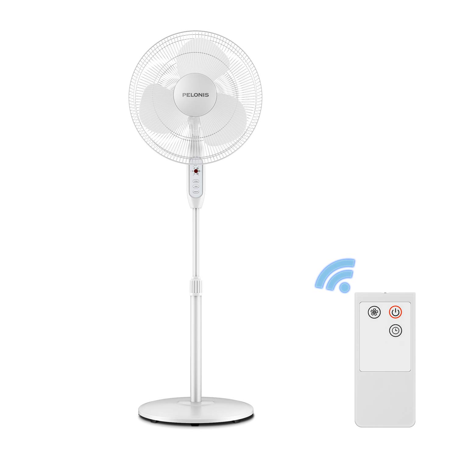 Pelonis 16-Inch 3-Speed Oscillating Pedestal Fan with 7-Hour Timer, Remote Control and Adjustable in Height, FS-16JR