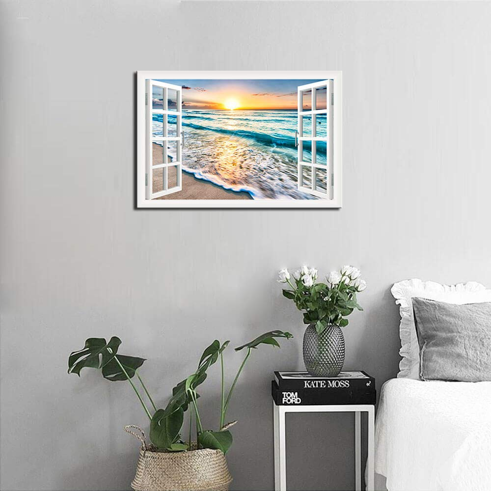 Wave Canvas Wall Art Sunset Ocean Nature Pictures Ready to Hang for Living Room Bedroom Home Decorations Modern Stretched and Framed Seascape Giclee Artwork Ready to Hang