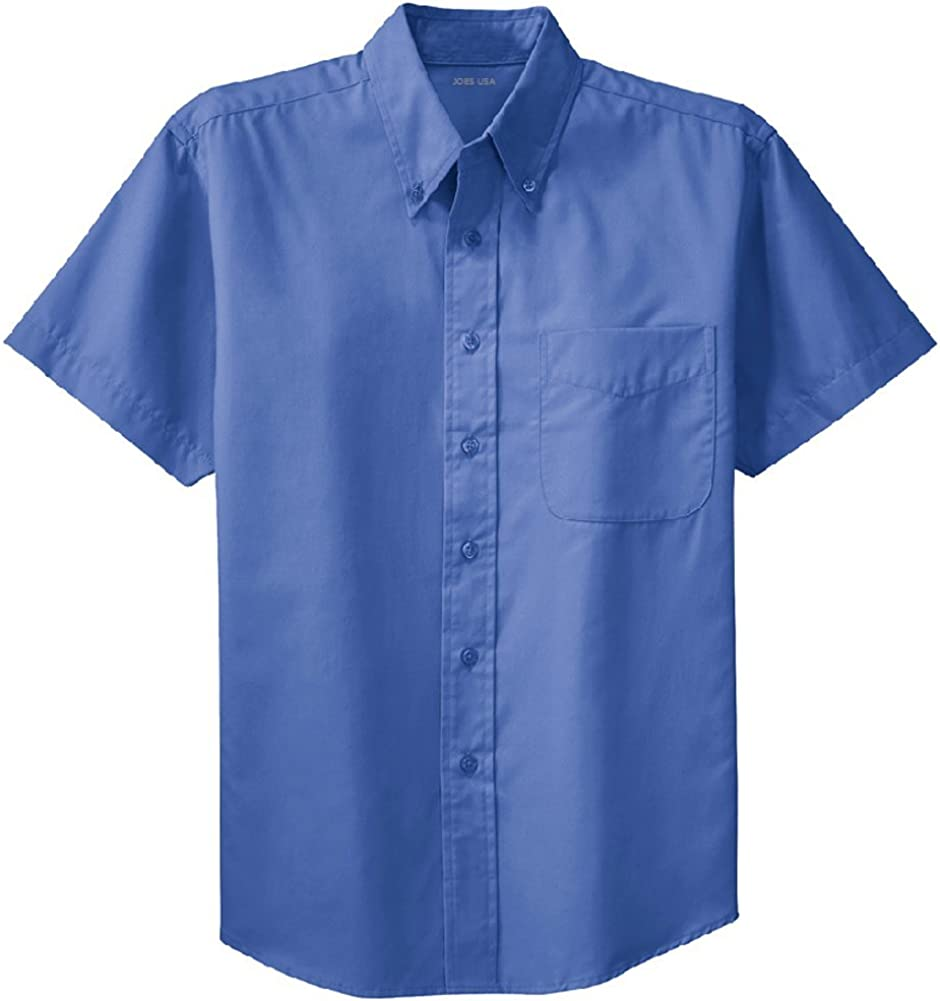 Joes USA Mens Short Sleeve Wrinkle Resistant Easy Care Shirts in 32 Colors Sizes XS-6XL