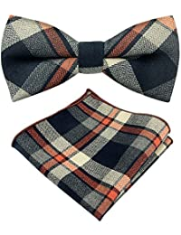 Bow Tie Set YFWOOD Men Cotton Bow Tie Pocket Square Set Formal Tuxedo Wedding Party for Adults & Children-Striped...