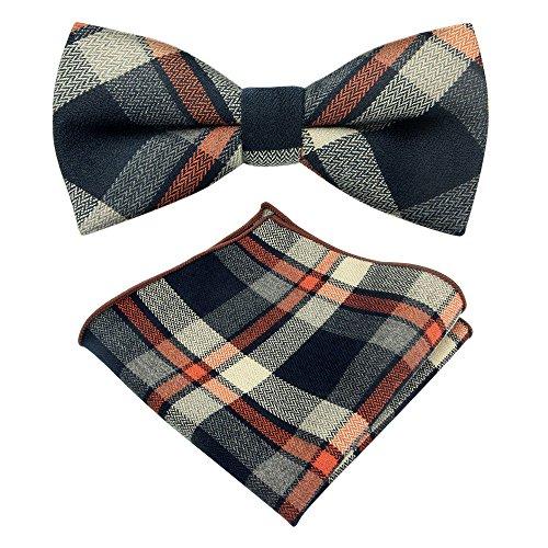 Plaid Flannel Tie - Men Bowtie Set Plaid Jacquard Pre-tied Cotton Bow Ties Pocket Square Set Adjustable Handmade Wedding Bow Ties Set