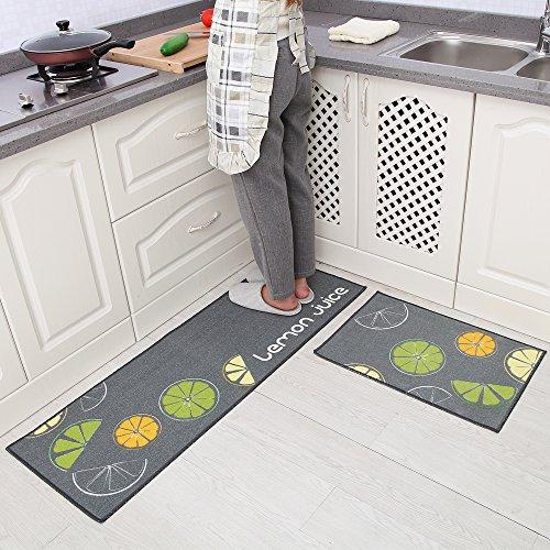 Carvapet 2 Piece Non-Slip Kitchen Mat Rubber Backing