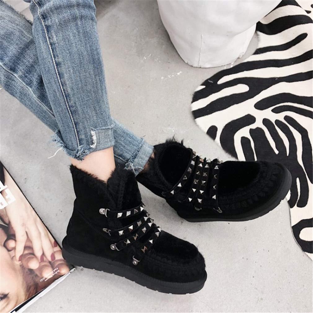 YAN Damen Stiefeletten Wildleder Winter New New New Rivet Platform Schuhe Schneeschuhe Dicke warme Stiefel Unsichtbare Höhe 85c2af