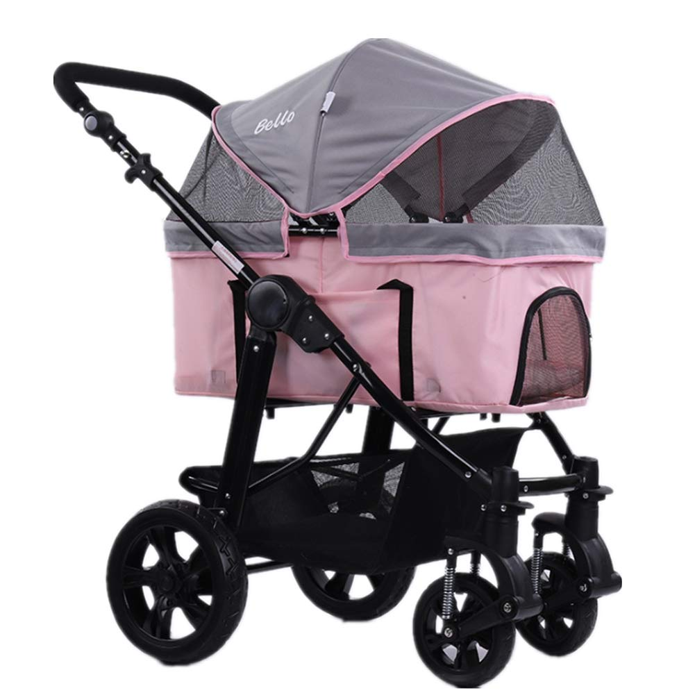 Pink Pet Stroller Breathable Foldable Pushchair Built-in Soft Mat High Capacity Detachable Portable Suitable for 25 kg