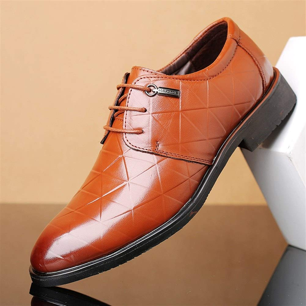 Fashion Wild Color Anti-Slip Genuine Leather Rubber Sole (Plaid Embossed & Carving Optional) Classic Oxfords for Men Formal Dress Shoes Lace up Flat Low Top Solid Super Cost-Effective by KELITA-SHOES