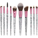 STELLAIRE CHERN 10 Pcs Makeup Brush Set Premium Synthetic Cosmetic Brushes Foundation Blending Blush Powder Eye Shadow Makeup Brushes Kit - Crystal Handle