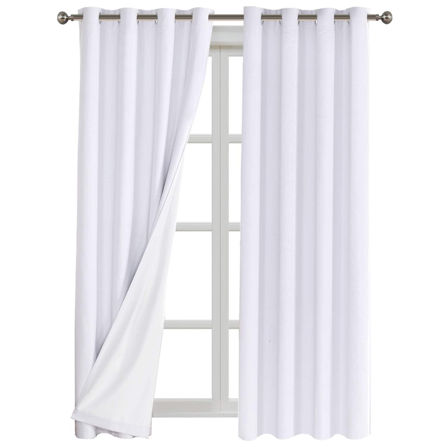 Full Light Blocking Window Treatment Curtains Grommet Top Linen Textured Primitive Blackout Panels Pair Thermal Insulated Curtains with White Backing Each 52 by 84 Inch Natural Flamingo P