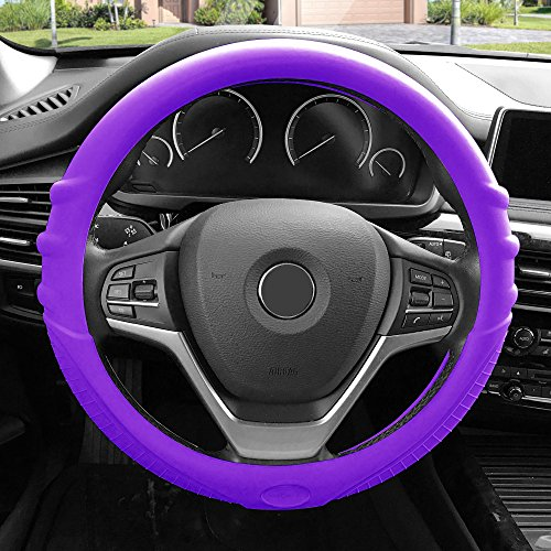 FH Group FH3003PURPLE Purple Steering Wheel Cover (Silicone W. Grip & Pattern Massaging grip Purple Color-Fit Most Car Truck Suv or Van) - Dodge Neon Hubcap