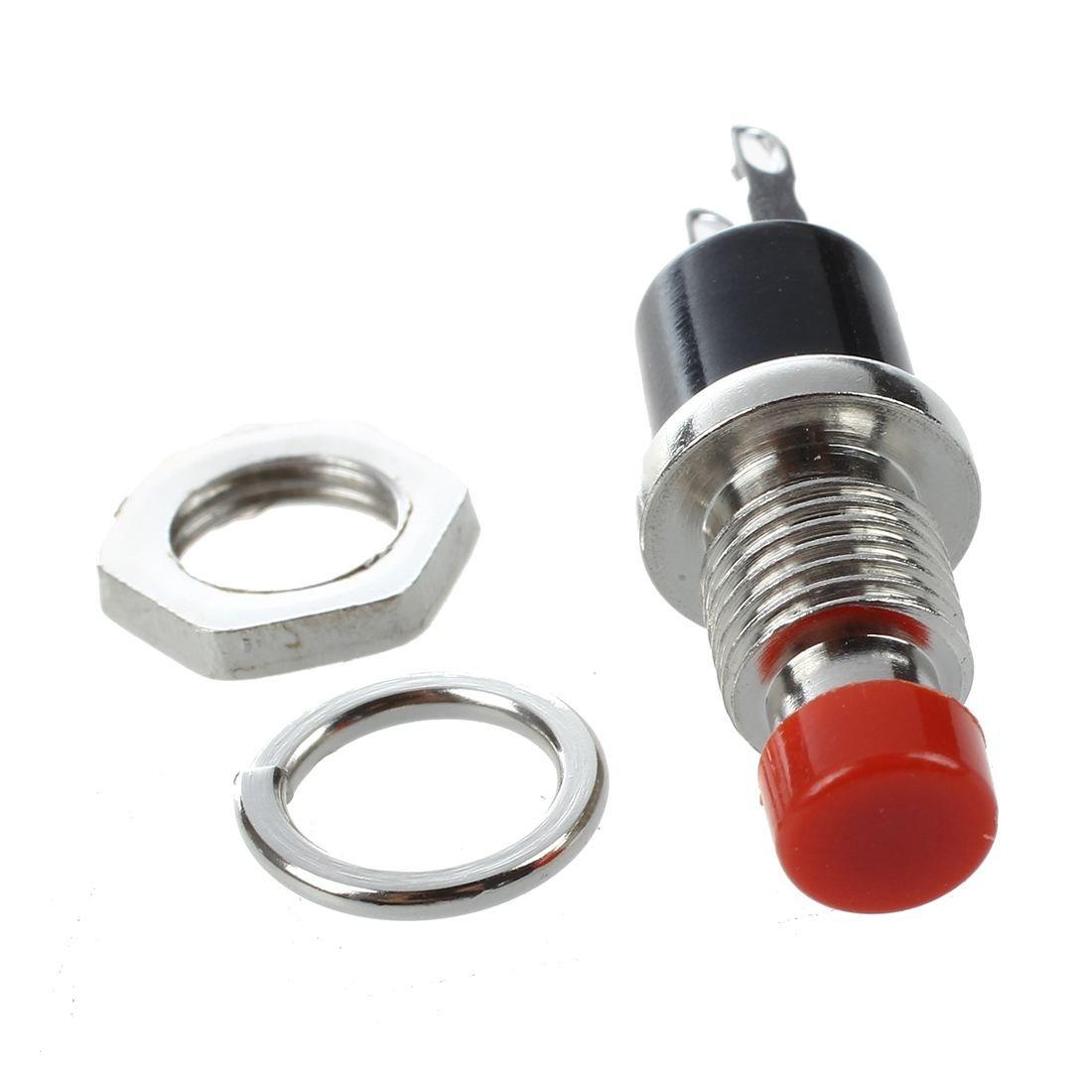 10Pcs Casquette rouge SPST Momentanee Mini interrupteur a bouton-poussoir DC 50V 0.3A SODIAL R