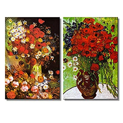 Red Poppies and Daisies Vase with Poppies Cornflowers Peonies and Chrysanthemums by Vincent Van Gogh Oil Painting Reproduction in Set of Panels