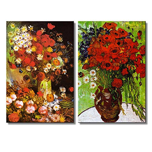 Red Poppies and Daisies Vase with Poppies Cornflowers Peonies and Chrysanthemums by Vincent Van Gogh Oil Painting Reproduction in Set of 2 x 2 Panels