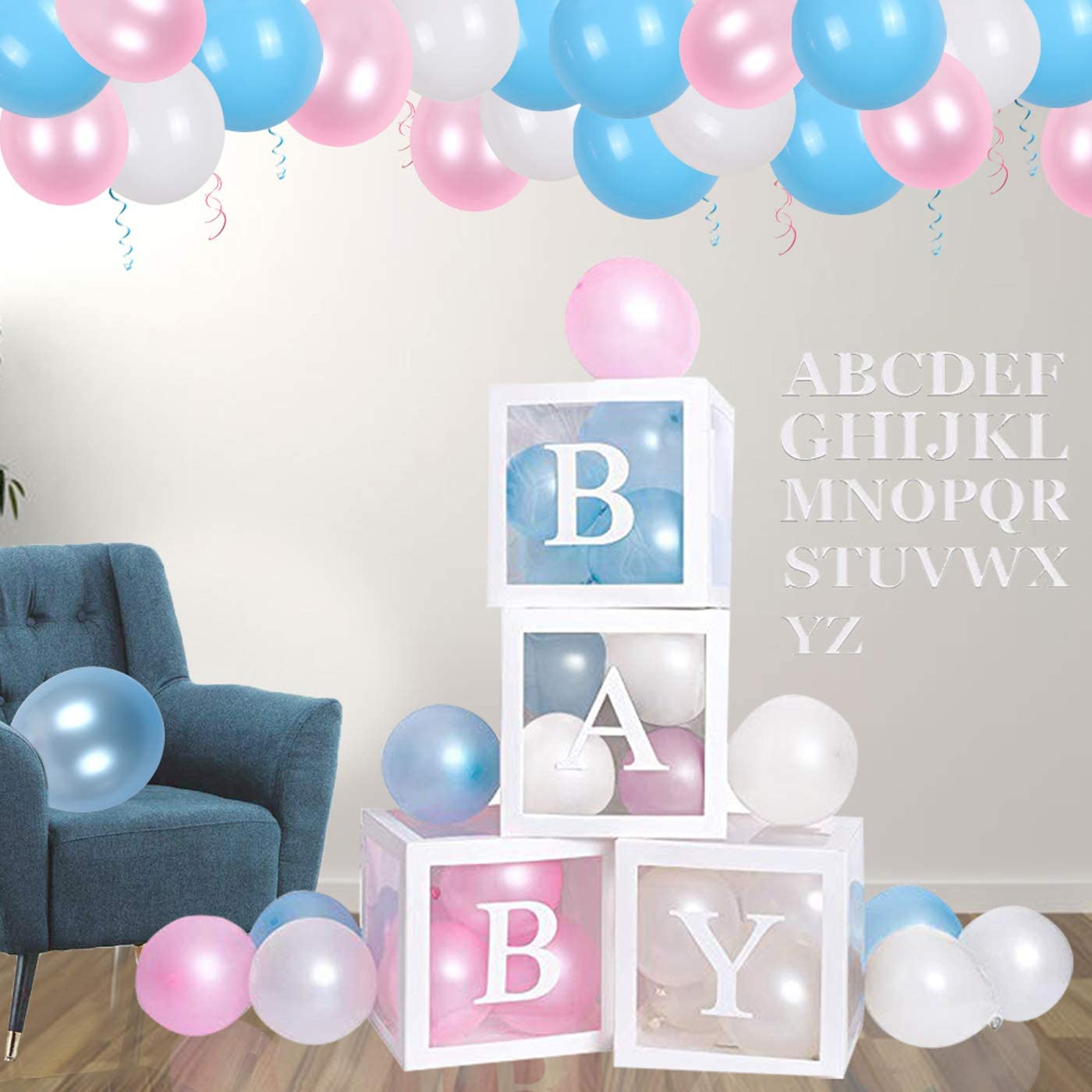 First Birthday Centerpiece Decor /& Supplies for Boys and Girls 40 pcs 4 Letters Baby Shower Boxes Party Decorations 32 Colorful Macarone Balloons,4 Transparent Blocks Gender Reveal Backdrop
