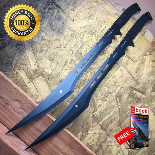 Twin Blade Lock Knife - 2 PC Large Full Tang 26'' Ninja Samurai Twin Tanto Blade Sword Machete Katana For Hunting Tactical Camping Cosplay + eBOOK by MOON KNIVES