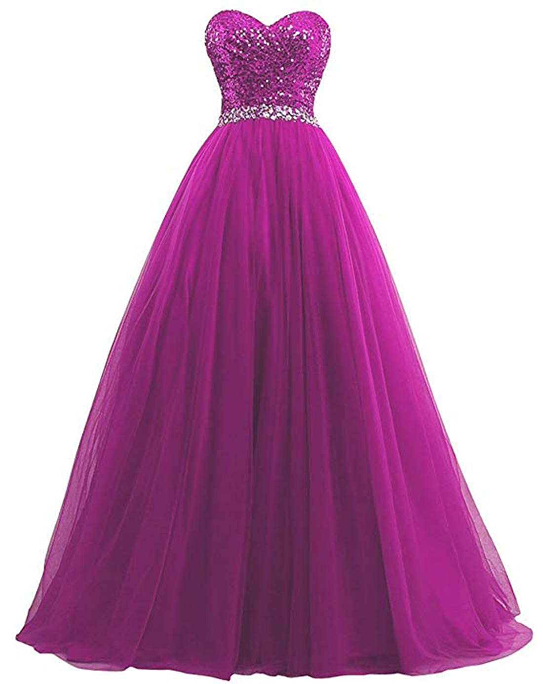 Fuchsia olise bridal Sexy Sweetheart Women's A Line Long Prom Dresses Sequin Party Formal Dresses Ball Gowns