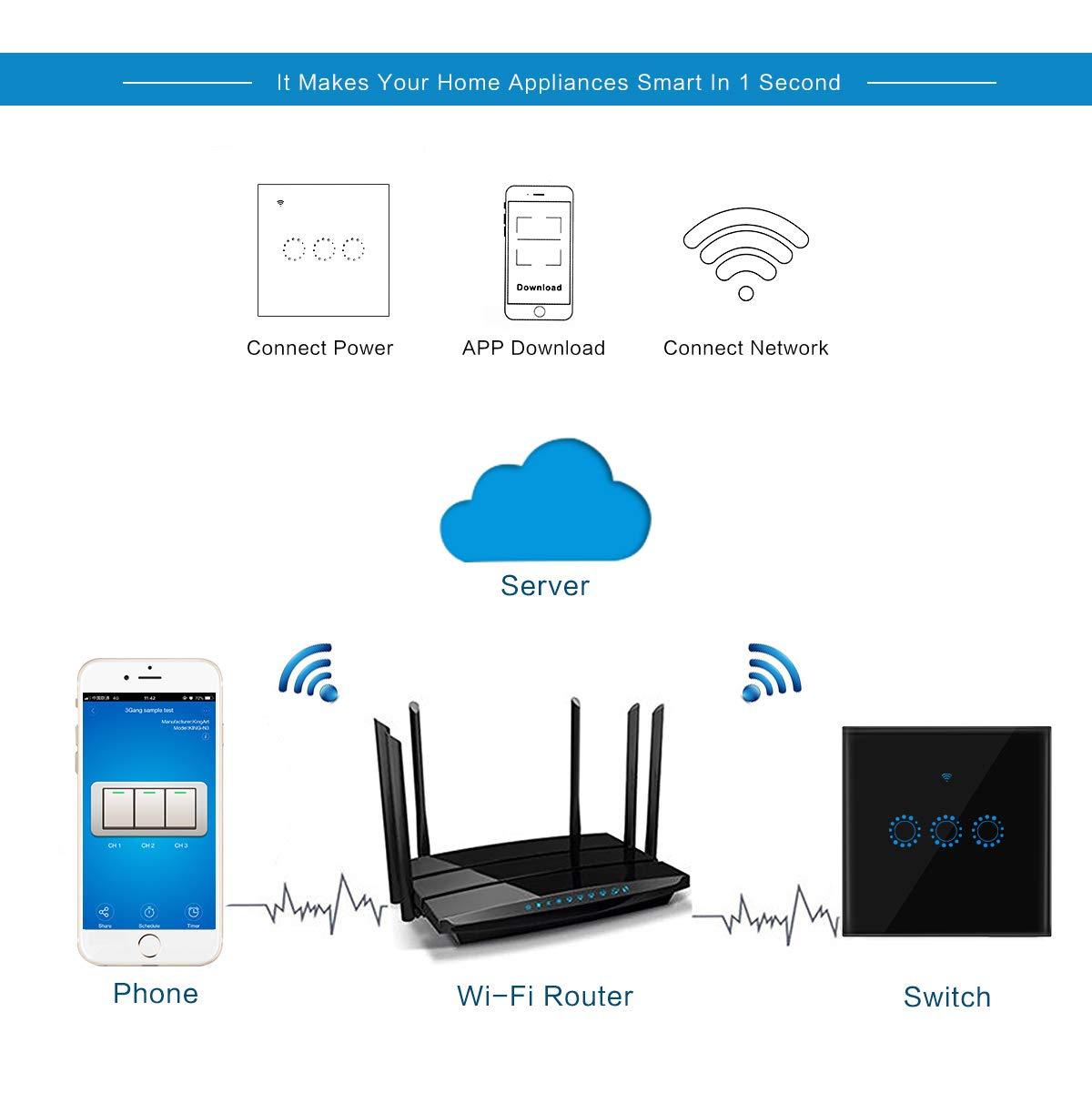 WIFI Interruptor T/áctil Smart Home Panel de Vidrio Admite Conexi/ón de Aplicaci/ón de Tel/éfono Inteligente y Funci/ón de Temporizador Compatible con Alexa y Google Home para Luces LED y Persianas