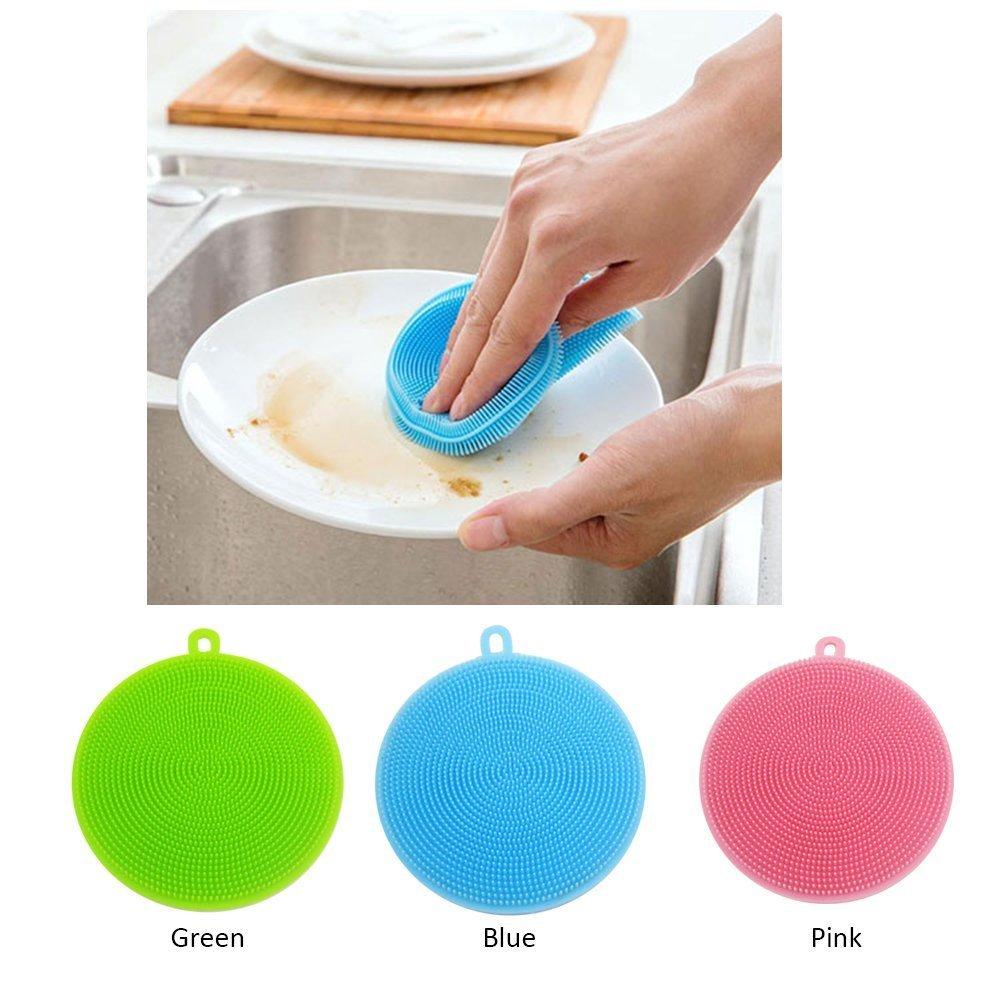 Easyinsmile Multifunctiona Silicone Dish Washing Brush - Kitchen Wash Tool Pot / Pan Dish Bowl / Washing Fruit and Vegetable 3 pcs per pack (Round)