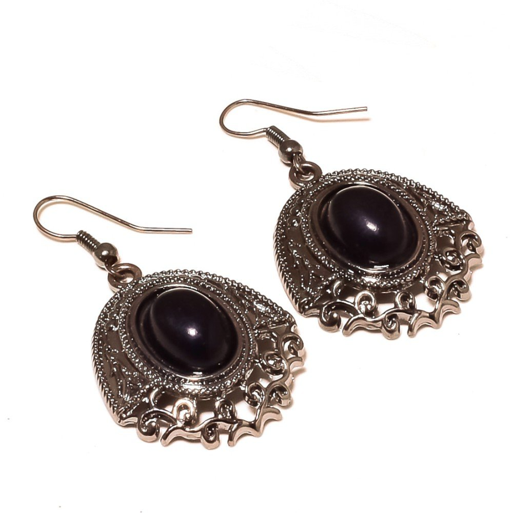 Black Onyx Sterling Silver Overlay 10 Grams Earring 1.75 Long Fully Oxidized Jewelry