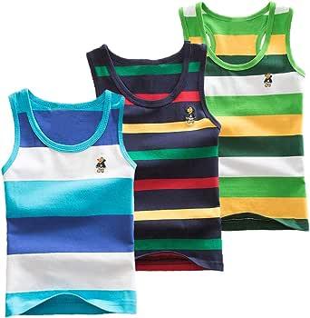 Coralup - Camiseta interior sin mangas para niños y niñas, 100% algodón, diseño de dinosaurio, 3 unidades, cómoda, transpirable, de 12 meses a 13 años
