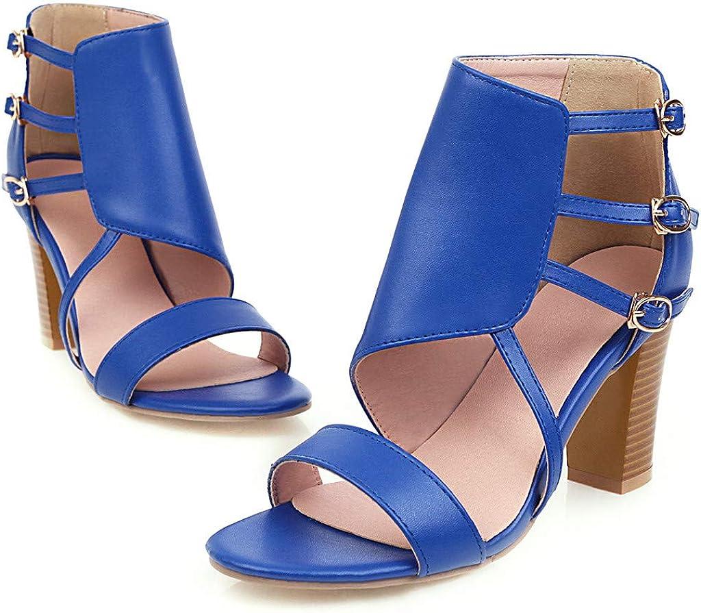 Women Solid Color High Heels Sandal Shoes Buckle Strap Thick Heels Sandals Snake Grain Print Sandals Shoes Summer Sanda