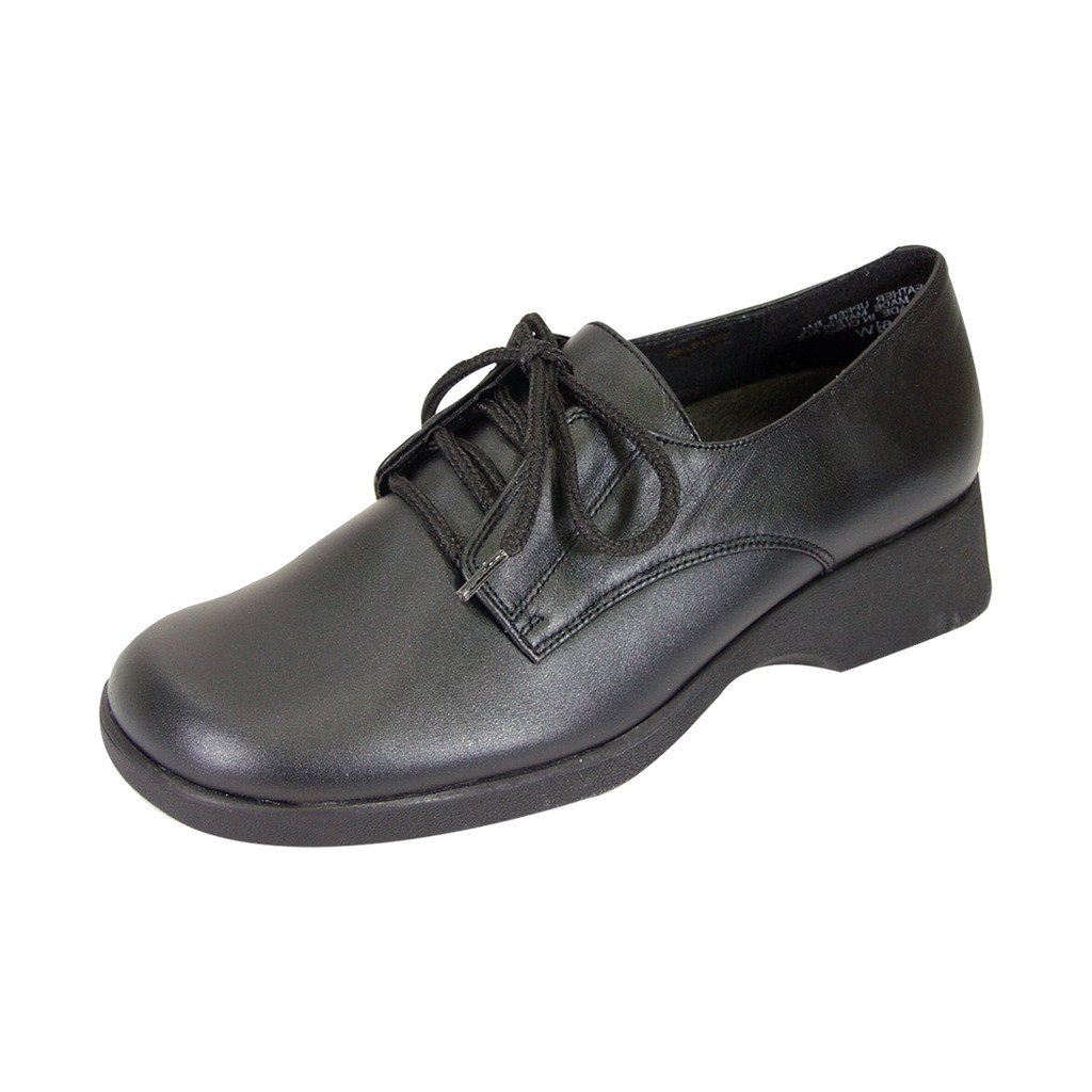 24 Hour Comfort Piper (1856) Women Wide Width Leather Lace Up Shoes Black 8.5 by 24 Hour Comfort