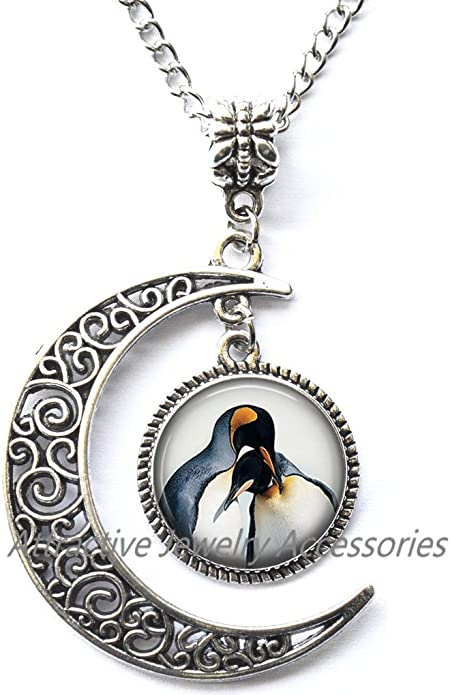 Wedding Locket Necklace,QK197 Bridesmaid Locket Necklace Penguin Jewelry Bird Locket Pendant Wearable Art Bird Locket Pendant Charm Polar Animal Locket Necklace Bridesmaid jewelry
