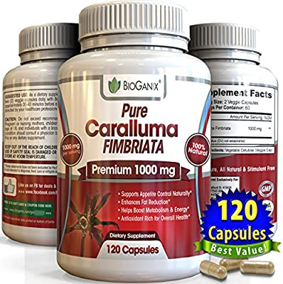 #1 Best Pure Caralluma Fimbriata Extract 1000 mg (120 Capsules) Elite Choice Natural Weight Loss Management Formula For Your Active Health (Superior to 500mg, 800mg & Tea)