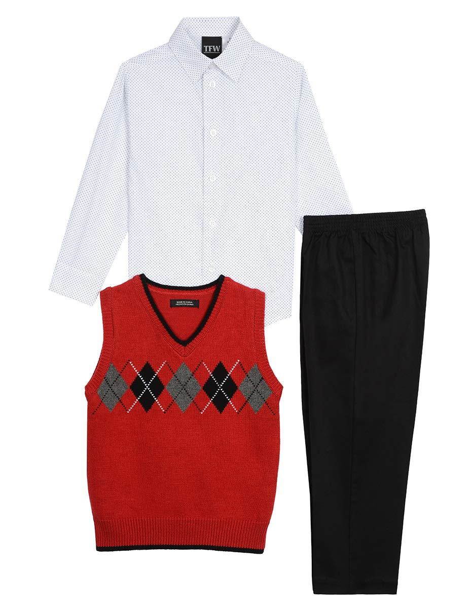 TFW Dresswear Little Boys' Sweater Vest Set, Dark Roasted Rouge, 5