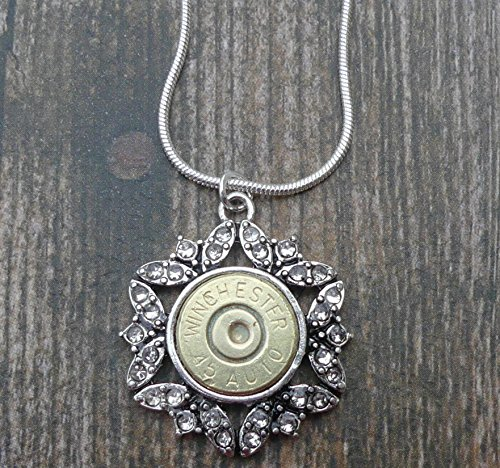 (Winchester 45 Caliber Antique Pewter Pendant Bullet Necklace)