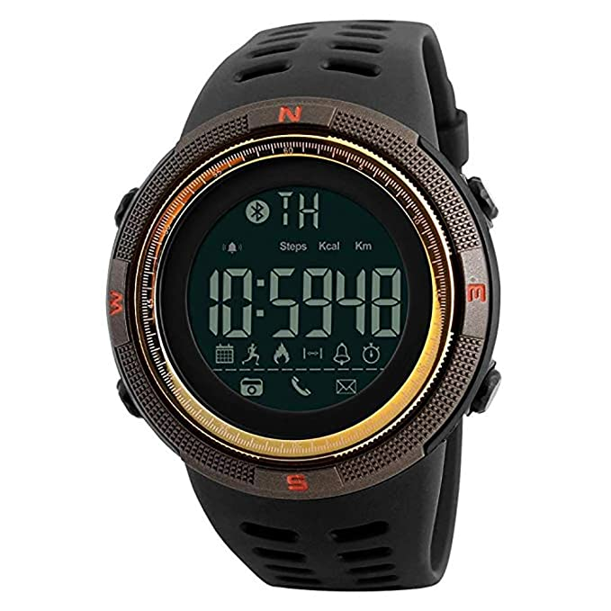 Bluetooth APP Remind Smart Watch Men Pedometer Calories Waterproof Digital Outdoor Sport Clock Mens Wristwatch Gift for Boys Friend/Father