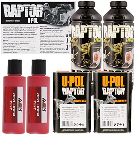U-Pol Raptor Hot Rod Red Urethane Spray-On Truck Bed Liner & Texture Coating, 2 Liters - Best Truck Bed Liner