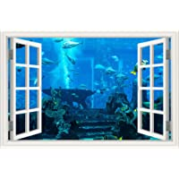 3D Wall Sticker Decals Colorful Fishes Removable Creative Window View Ocean Animal Wallpaper for Bedroom Wall Art…