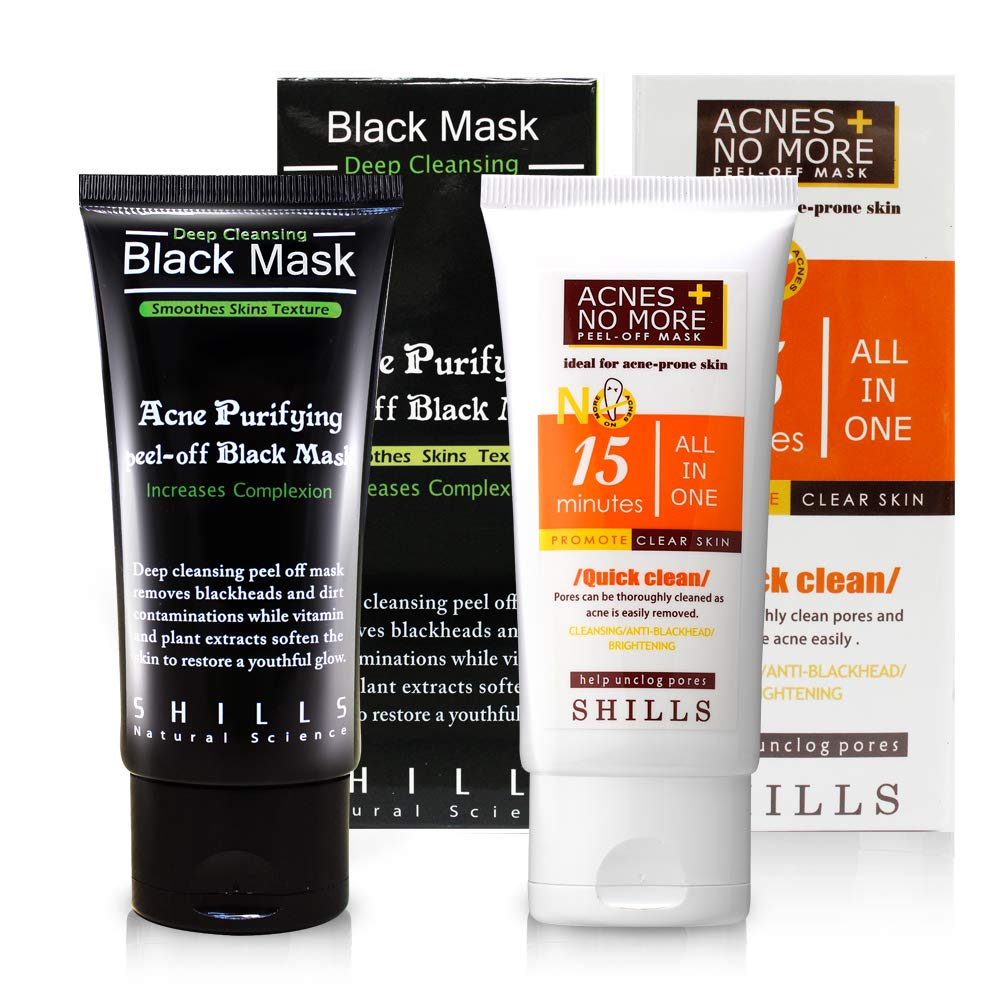 SHILLS Black Mask and SHILLS Acne No More Set of 2 Purifying Peel off masks for Blackhead removal, Deep Cleansing, Unclogging Pores and Acne treatment. Guaranteed Authenticity! 50ML+50ML LIN QUAN ENTERPRISE CO. LTD