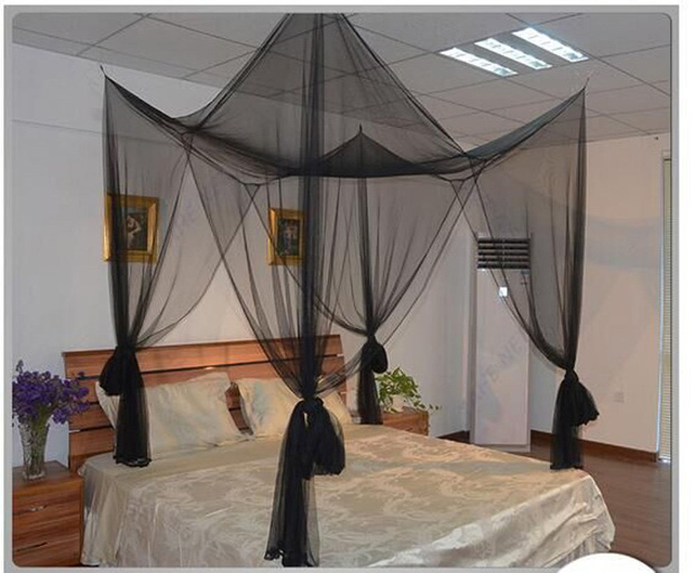 Mengersi 4 Corner Post Bed Canopy Mosquito Net Twin Full Queen King Size (Black)