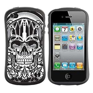 Hybrid Anti-Shock Bumper Case for Apple iPhone 4 4S / Cool Tatto Skull