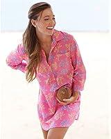 Mud Pie Kelli Shirtdress Cover-Up Royal Coral