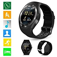 melysEU Unisex Bluetooth Smart Watch Teléfono Impermeable Frecuencia cardíaca, con cámara Compatible con Android iOS Juvenil Reloj Inteligente Teléfono (Negro)