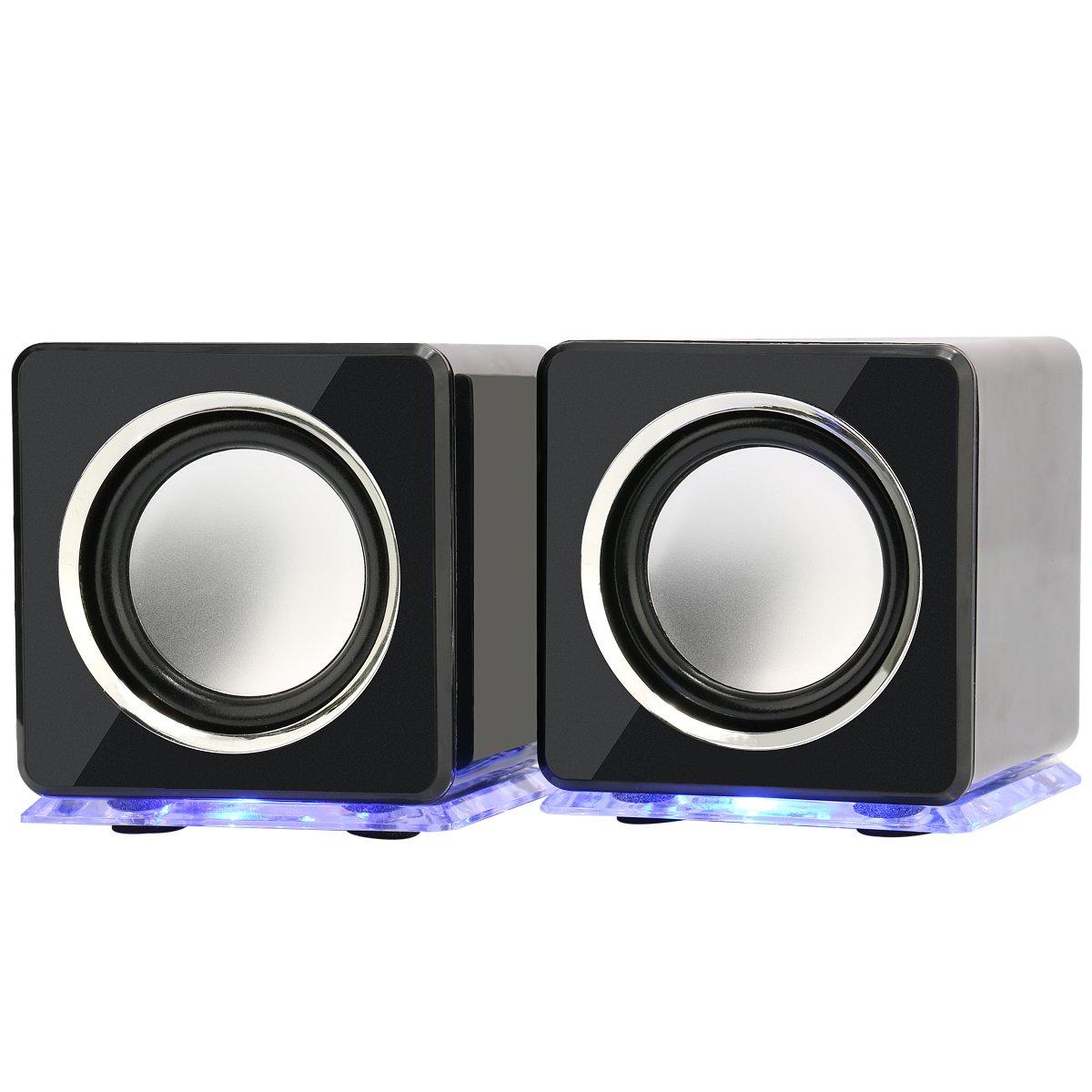 Incutex rainbow speaker, LED Boxen, PC Notebook Lautsprecher, Audio Boxen, portable speaker, tragbare Boxen, Schwarz #666sw..