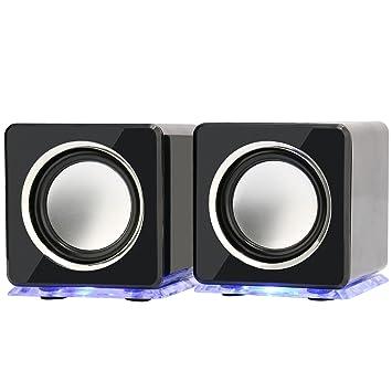 Incutex - Altavoces Led Portátiles Coloridos, Altavoces Para Ordenador Y Portátil, Negro: Amazon.es: Electrónica