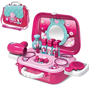 wodtoizi Makeup Kit Set Toy Beauty Salon Set Toys Pretend Play Girls Kids Toddlers Role Play Cosmetics Playset with Mirror Fashion Accessories School Class Party Game Birthday