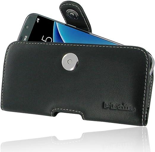 Samsung Galaxy S7 edge Etui Cuir Holster avec clip ceinture, PDAIR Housse en cuir véritable, ceinture en cuir Holster, Housse étui, faite à la main ...