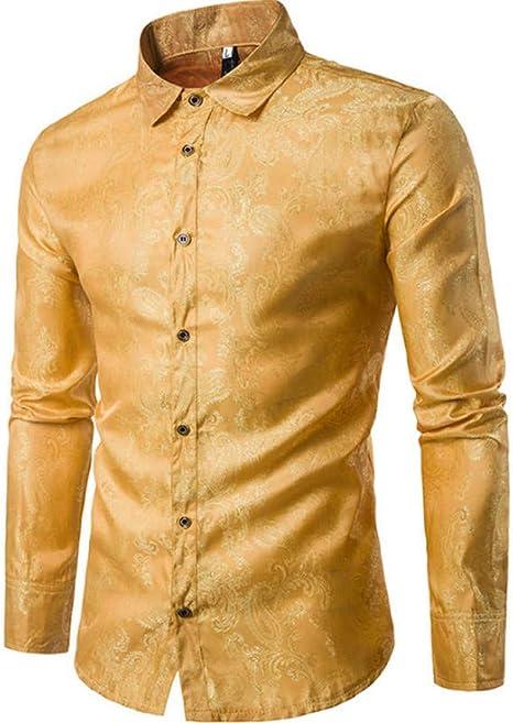 MDLJY Camisas Camisa de Vestir de satén de Seda para Hombre 2019 Camisa de Manga Larga con Cuello de Golondrina de Moda Camisa Informal de Boda para Fiesta en Discoteca: Amazon.es: Deportes
