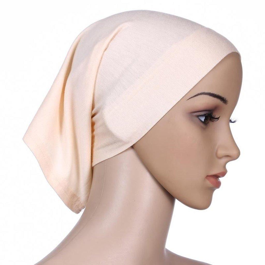 Mimgo Islamic Muslim Women Cotton Headscarf Hijab Cap Underscarf Ninja Scarf (Beige)