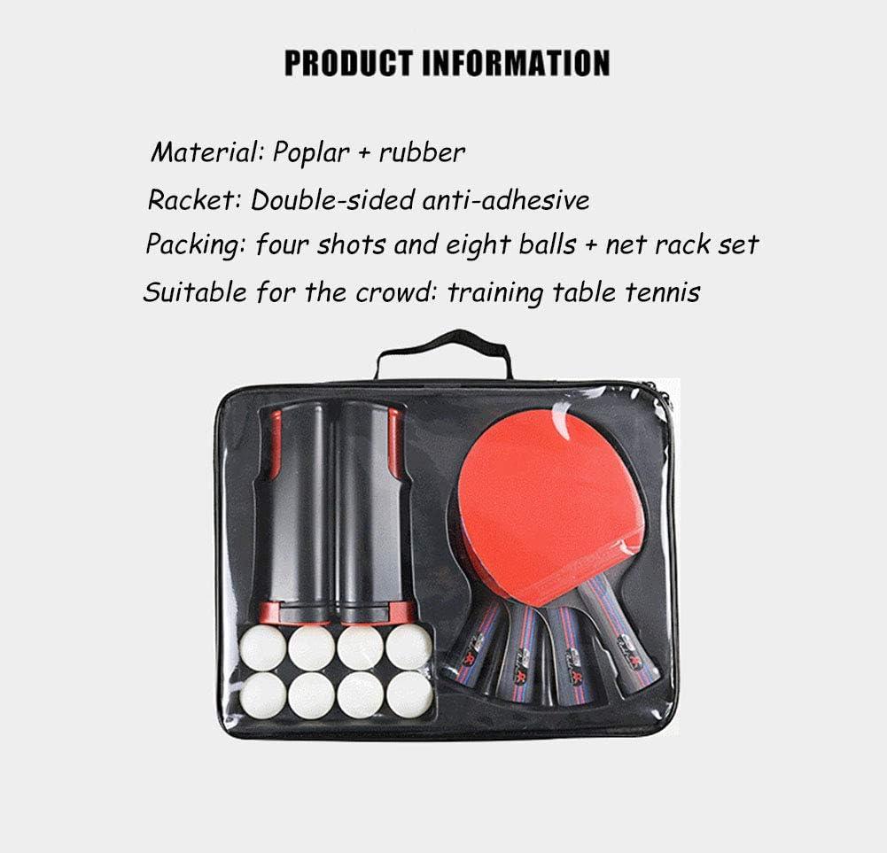 Netz zur einfachen Montage an Tischplatten,Premium Tischtennis-Set f/ür Anf/änger HJX888 Tischtennis Set,4 Tischtennis-Schl/äger Familien 8 Tischtennis-B/älle
