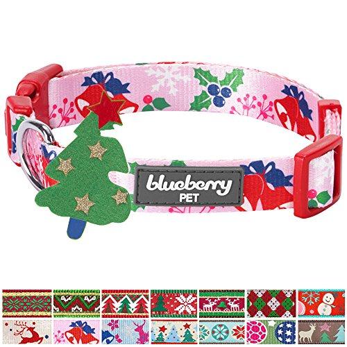 Blueberry Pet 14 Patterns Christmas Holiday Excellence Secret Garden Baby Pink Designer Dog Collar, Medium, Neck 14.5