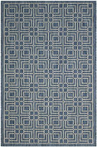 Safavieh Courtyard Collection CY8467-36821 Navy and Grey Indoor/ Outdoor Area Rug (5'3