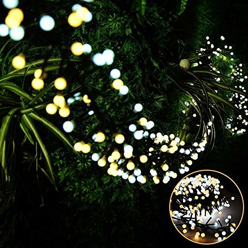 Litake LED String Lights, 26ft 400 LEDs Waterproof Indoor Outdoor Globe String Lights, 8 Modes Fairy Decorative Lights for Bedroom, Patio, Garden, Party, Wedding, Porch (Warm White+Daylight) -