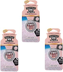 Yankee Candles 3 x Pink Sands Smart Scent Vent Clip Air Freshener, Festive Scent